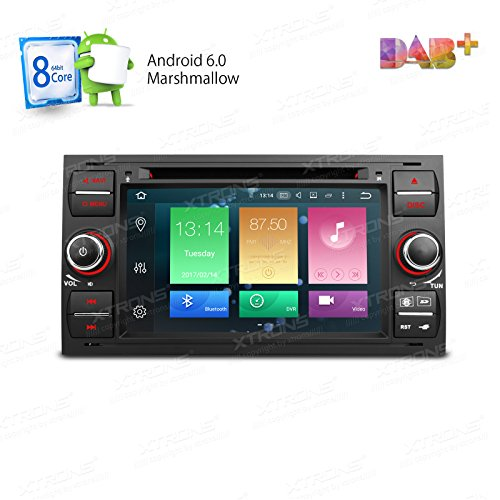XTRONS Black Android 6.0 Octa-Core 64Bit 7 Inch Capacitive Touch Screen Car Stereo Radio DVD Player GPS CANbus Screen Mirroring Function OBD2 Tire Pressure Monitoring for Ford Focus II by XTRONS