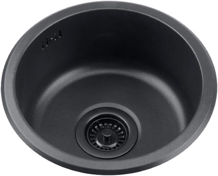 Color : Black, Size : 43cm Fregadero Redondo Negro Piscina De Renovaci/ón De Cocina Fregadero Individual Redondo Fregadero Peque/ño Lavabo Redondo para Ba/ño Lavado De Verduras Y Lavavajillas