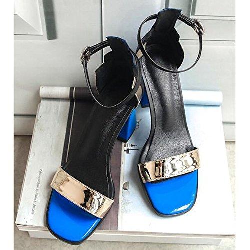 della Chunky sandali Casual per Primavera Scarpe Gladiator base Estate oro da donna in Silver cuoio pompa tacco argento ZHZNVX 71Zwq0PR