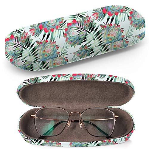 Hard Shell Glasses Protective Case with Cleaning Cloth for Eyeglasses and Sunglasses - Cactus Leaves ()