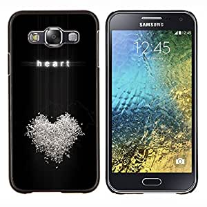 LECELL--Funda protectora / Cubierta / Piel For Samsung Galaxy E5 E500 -- Corazón del amor Relatiosnhip Bling Símbolo Blanca --