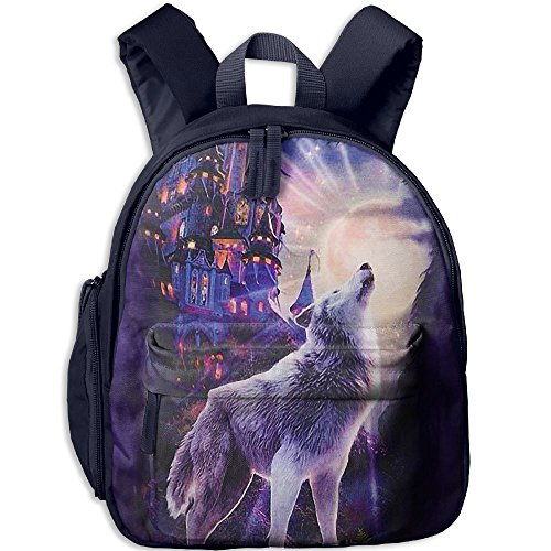 Small School Daypack Creating With Wolf Castle For Kindergarten Unisex Kids - Oxford Street Angeles Los