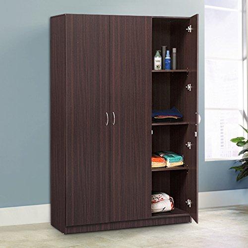 HomeTown Willy Engineered Wood Three Door Wardrobe in Walnut Color