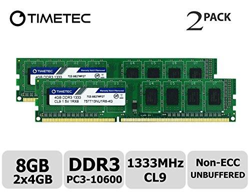 (Timetec Hynix IC 8GB Kit (2x4GB) DDR3 1333MHz PC3-10600 Unbuffered Non-ECC 1.5V CL9 1Rx8 Single Rank 240 Pin UDIMM Desktop Memory Ram Module Upgrade (High Density 8GB Kit (2x4GB)))