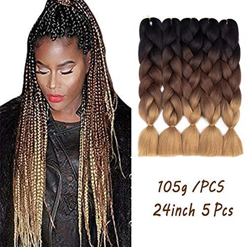 Synthetic Hair Braiding - Ombre Braiding Hair Kanekalon Synthetic Braiding Hair Extensions 5pcs/lot 24inch Jumbo Braiding Hair (Black-Dark Brown-Light Brown)