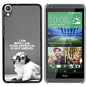FlareStar Colour Printing Cute Wise Puppy I Am Who Black Text cáscara Funda Case Caso de plástico para HTC Desire 820