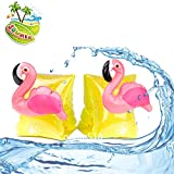 Inflatable Swim Arm Bands for Kids, Flamingo Floatation Sleeves Floats Tube Armlets 1 Pair (Flamingo Water Wings)