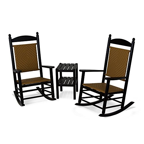 POLYWOOD PWS141-1-FBLTW Jefferson 3-Piece Woven Rocker Chair Set, Black Frame/Tigerwood (Polywood Jefferson Rocker)