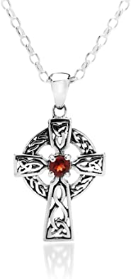 Sterling Silver Garnet Celtic necklace Pendant no chain Made in UK Gift Boxed