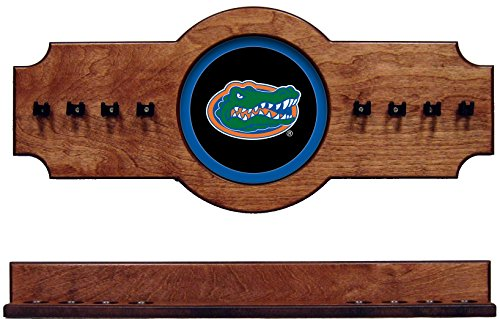 NCAA Florida Gators UFLCRR200-P 2 pc Hanging Wall Pool Cue Stick Holder Rack - Pecan by wave