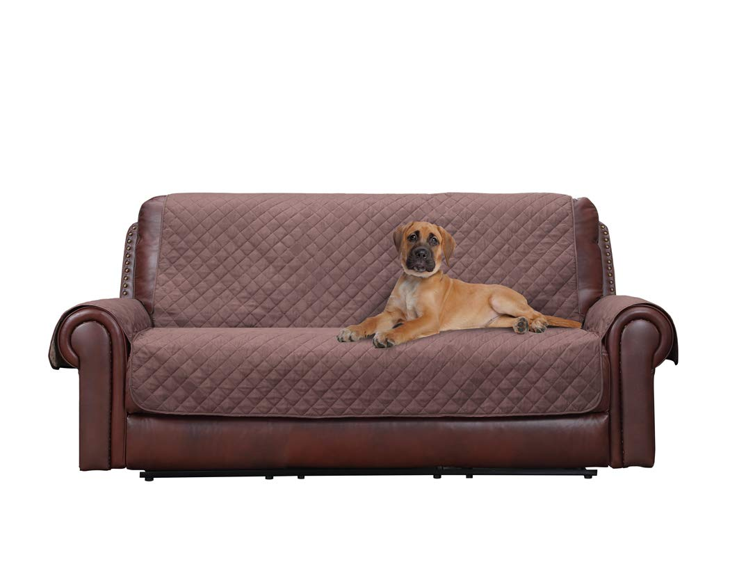 Home Queen Premium Couch Slipcover for Leather Sofa, Non-Slip Water Resistant Sofa Protector, Furniture Covers for Dogs, Kids, Pets, Sofa Covers 75'' L x 110'' W, Chocolate/Tan