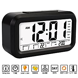Alarm Clock, Aitey Talking Alarm Clock with Large Digital Display, Optional Weekday Alarm, Snooze, 3 Alarms, 7 Rings and Low Light Sensor Technology ( Black )
