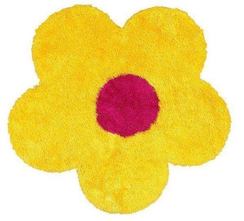 Trade AM Senses Flower Shaped Shag Rug, 4-Feet, Yellow