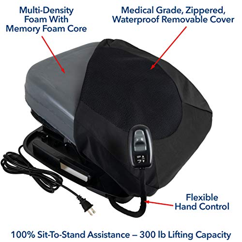 Carex Health Brands Premium Power Lifting Seat, Black, 17 Inches by Carex (Image #1)