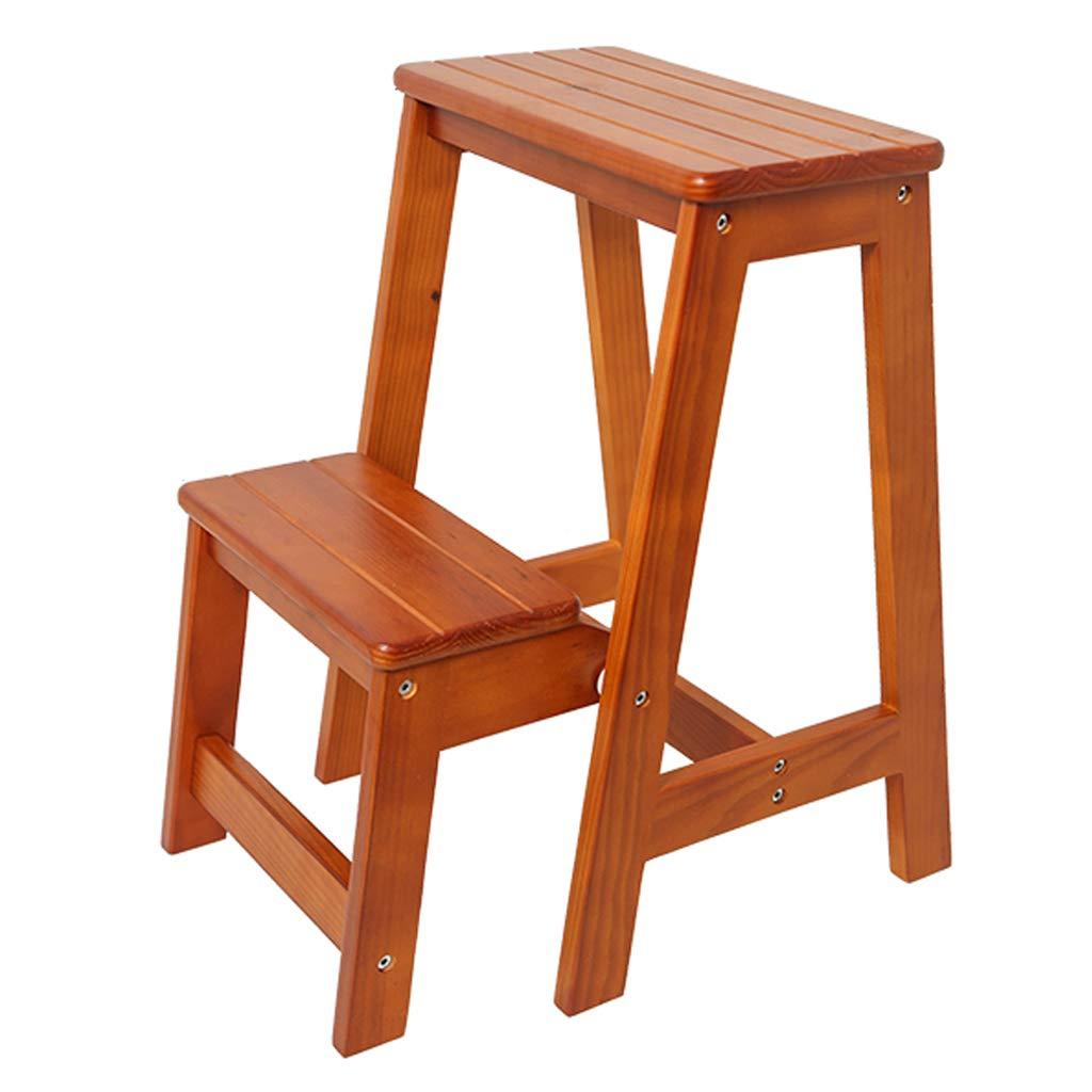 大人と子供のためのウッド2ステップスツール 屋内折りたたみ脚立 台所木製の梯子 ポータブルシューベンチ/フラワーラック (3色) B07QCWJKKS #2