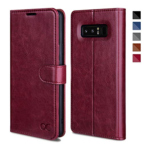 OCASE Galaxy Note 8 Case, Samsung Galaxy Note 8 Wallet Case [TPU Shockproof Interior Protective Case] [Card Slot] [Kickstand] [Magnetic Closure] Leather Flip Cover for Samsung Galaxy Note8 - Burgundy