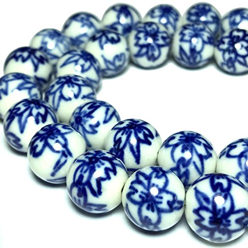 [ABCgems] Vintage Ceramic Porcelain (Orchid Flower) 10mm Smooth Round Beads
