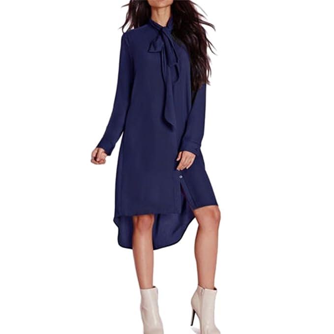 Juleya Damen Chiffon Kleid Hemdkleider Langarm Asymmetrische ...