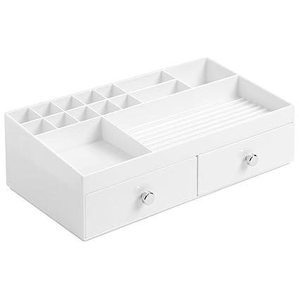 InterDesign Drawers Caja con compartimentos | Caja de maquillaje con 2 cajones y 15 compartimentos |