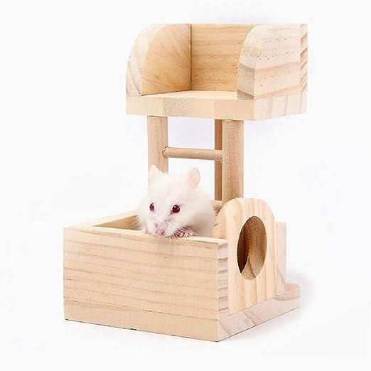 Homeofying Pet Toy Escalera de Escalada de Dos Pisos de Madera, hámster, cobaya, Cerdo, Juguete para decoración de Jaula de Mascotas: Amazon.es: Belleza
