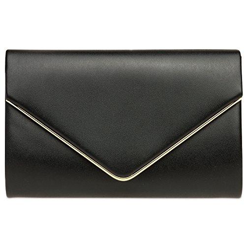Noir chaînette de TA373 main élégant Sac avec enveloppe pour longue CASPAR femme clutch soirée à Pochette Fw4SSqa