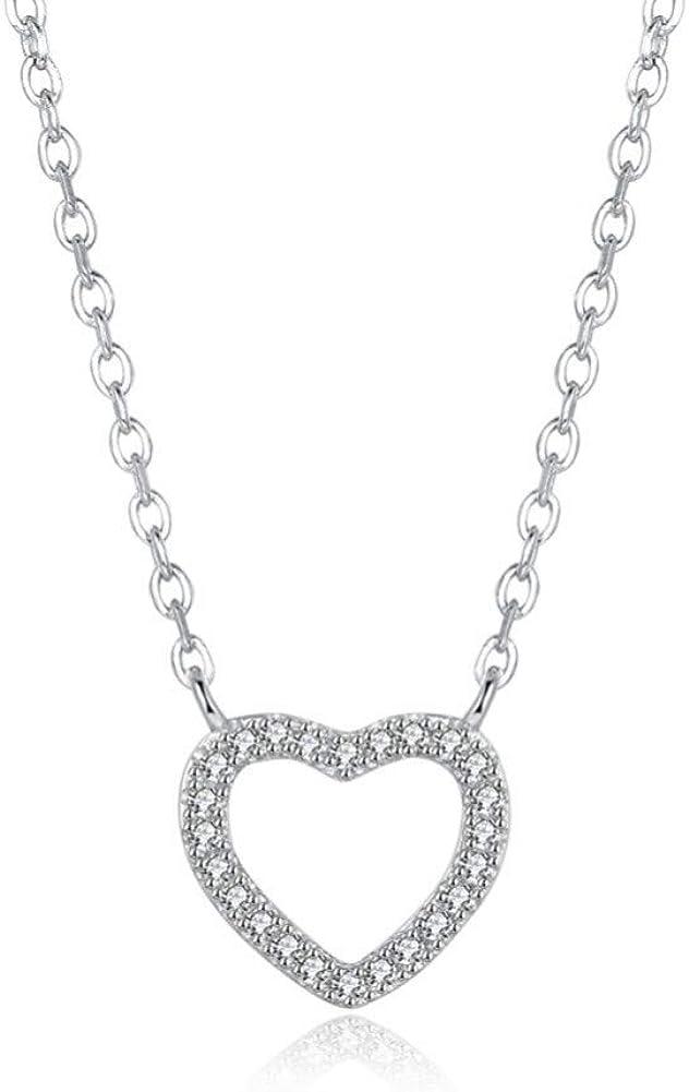 BLINGBRY S925 Collar de Piedra en Forma de corazón clásico Simple de Plata esterlina Colgantes Joyas de Boda Collar de Mujeres Elegantes Regalos para Ella