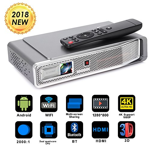 Foluu Mini Video Projector DLP Pocket 3D 4K Portable Projector 500 ANSI lm Support 1080P Bluetooth HDMI USB TF Card for Home Cinema iPhone Android Wireless Screen Share Auto Keystone Correction