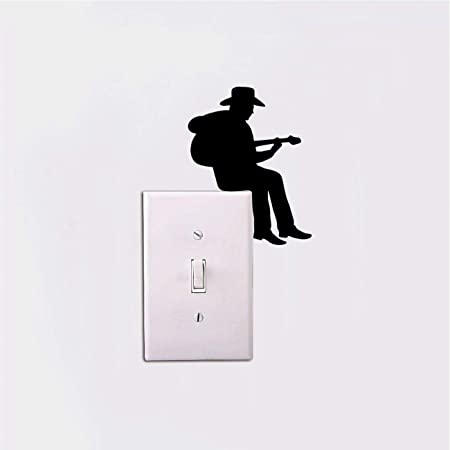 BGIUHFW 11 * 9 cm Guitarra Silueta Interruptor de luz Pegatina ...