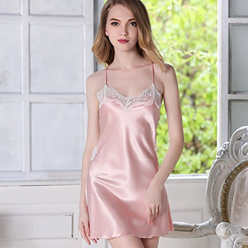 MH-RITA Temperament Female Summer Bud Silk Silk Nightgown Sling Adult Extreme Temptation 170 (Xl) Shrimp Pink (Extreme Shrimp)