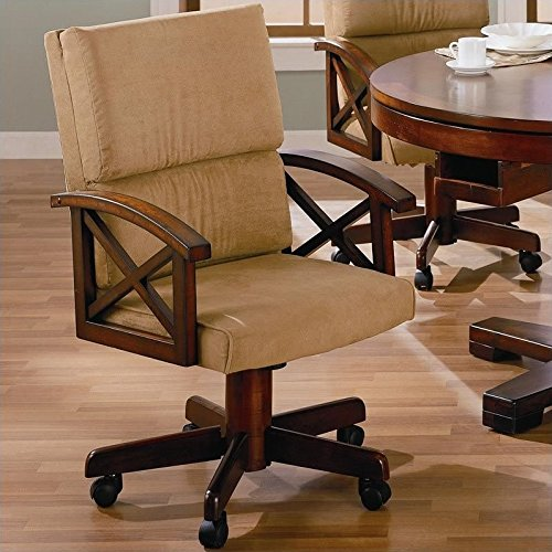 BOWERY HILL Upholsted Arm Game Chair with Casters in Dark Oak (Upholsted)