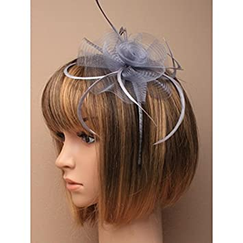 5875 Silver Grey Net Flower   Feather Fascinator on matching coloured satin  covered narrow aliceband Wedding Races by Molly   Rose  Amazon.co.uk  Beauty 8bf840c4155