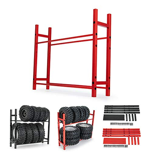 "RC Car Alloy Tire Rack/Wheel Rack for 1.9'' 2.2"" Tire Wheel Rim SCX10 D90 CC01 TRX4 RC Crawler (Black)"