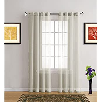 warm home designs pair of extra long light beige sheer 54 x 120 inch window curtains