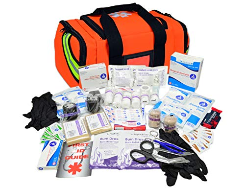 (Lightning X Value Compact Medic First Responder EMS/EMT Stocked Trauma Bag w/Basic Fill Kit A - Orange)