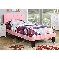 Poundex PU Upholstered Platform Bed