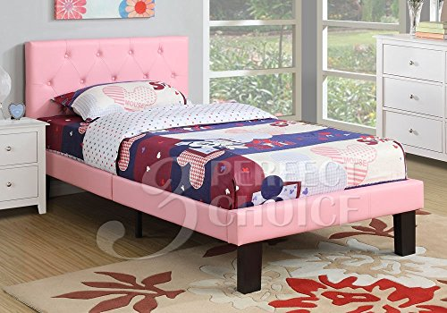 Poundex PU Upholstered Platform Bed, Twin, Pink