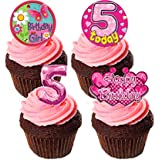 5th Birthday Girl Edible Cupcake Toppers - Pink Stand-up Wafer Cake Decorations by Made4You