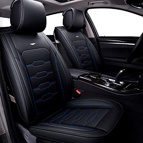 Seat Trim Leather - Skysep Fashion Style car seat Cover,Winter Leather Seats Car,PU Leather and 3D Breathable Fabric, Fully Surrounded Unisex Seat (Black-Blue)