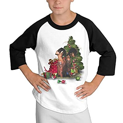 Gary Youth Boy's Rae Sremmurd Christmas 3/4 Sleeve Raglan Shirt Black