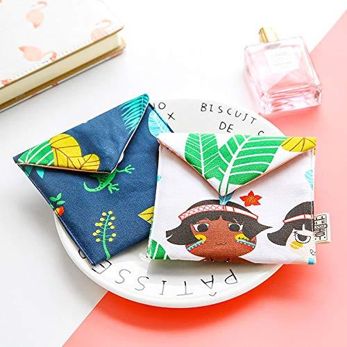 Memories Girl Cotton Blends Polka Dots Sanitary Pad Holder Button Bag Case,Travel Wet/Dry Bag, Baby Bandana Drool Bibs Bag