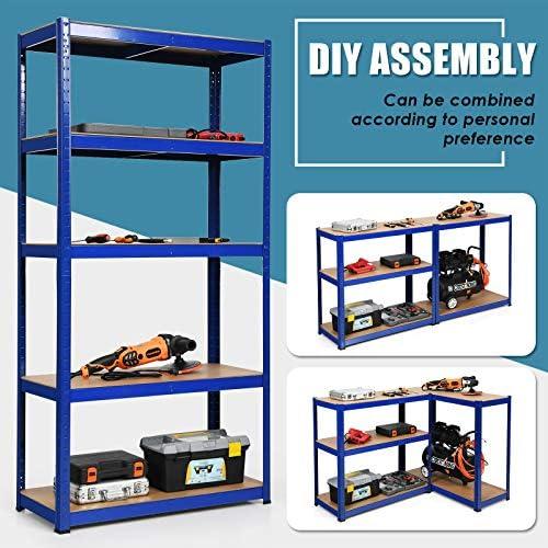 Giantex Storage Rack Shelving Unit Storage Shelf Steel Garage Utility Rack 5-Shelf Adjustable Shelves Heavy Duty Display Stand