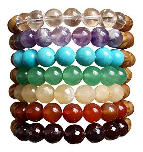 YOGA BRACELET BUNDLE - 7 CHAKRAS - Multi Semi Precious Healing Crystal Bracelets with Mango Wood Beads (YOGABUNDLE)