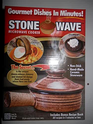 4-Stone Wave (Microwave Cooker) Gourmet Dishes in Minutes. Non-Stick, Hand-made Ceramic Stonneware.