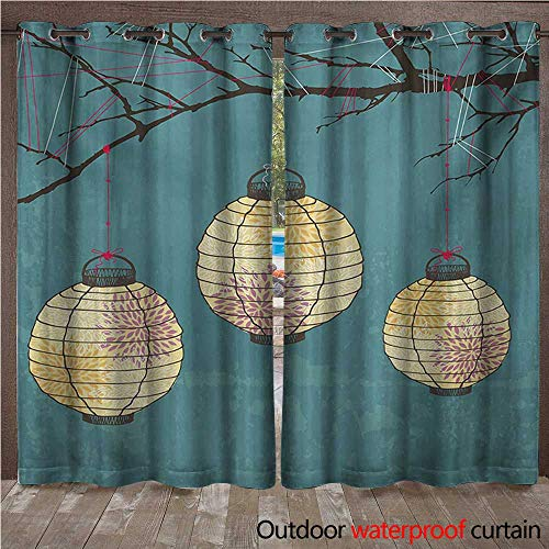 WilliamsDecor Lantern Outdoor Curtain for Patio Three Paper Lanterns Hanging on Branches Lighting Fixture Source Lamp Boho W84 x L84(214cm x 214cm)