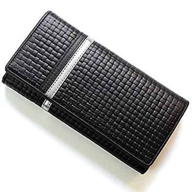 c6af1fd94289 Amazon | DIABLO ディアブロ 長財布 牛革 メッシュ調型押し エンボス カラーライン ブラック×メタリックシルバー 【KA-1169】  [ウェア&シューズ] | 財布