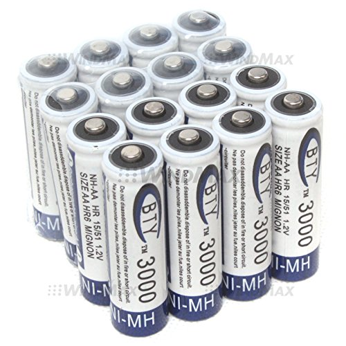 WindMax® US Seller 16 PCS BTY 3000mAh 1.2V AA Size Ni-MH Rechargeable Battery Batteries for Toys Wireless Phone Remote Control Digital Cameras PDAs Portable - Nickel Metal Battery Hydride Digital