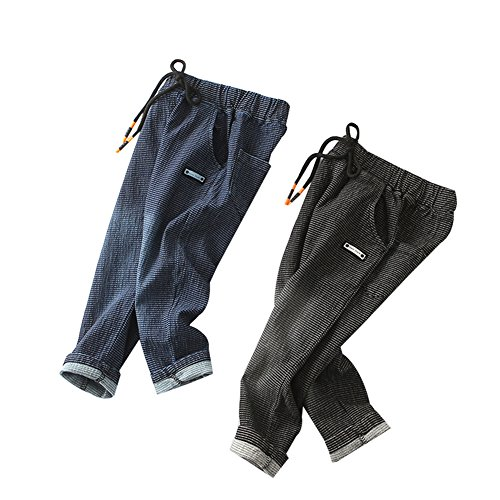 Goodkids Little Unisex Baby Boys Girls Casual Elastic Stripe Trousers Jean Pants Denim Clothes (2-3 Years, Black)