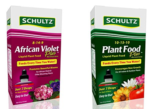Schultz African Violet and All Purpose Liquid Plant Food Gardening Kit: 2 Items - 4 ounces (Schultz Potting Soil)
