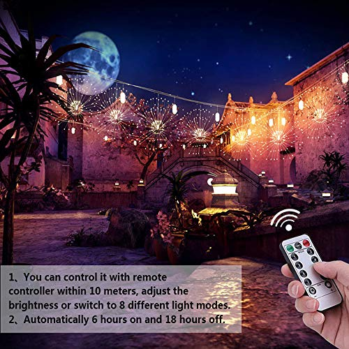 LED Firework Light Fairy String Lights, 2 Pack 120 LED Starburst String Light, 8 Modes Dimmable Function with Remote Control, Waterproof for Home Garden Wedding Party Christmas Decor