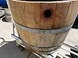 21 Inch Bordeaux Used Oak Half Barrel Planter And/Or End Table